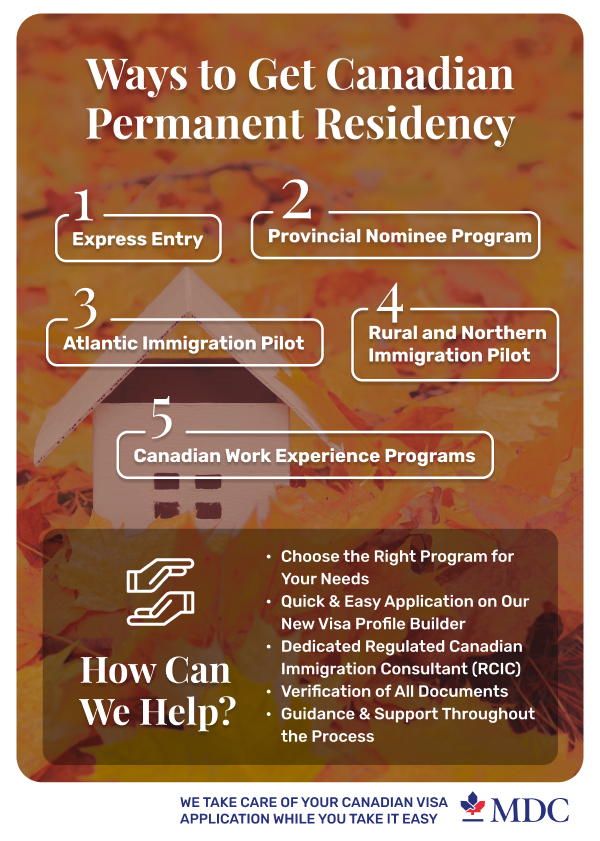 5 Ways to Get Canadian Permanent Residency Infographic | Canadian Permanent Residency