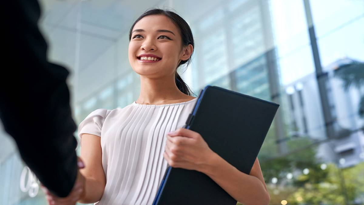 Asian intern starting her first job